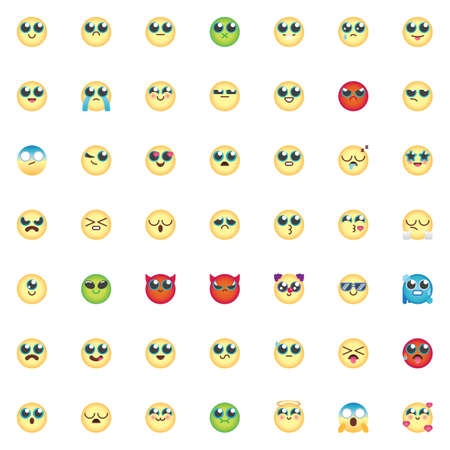 Emoticon elements collection, Comic Emoji smiley flat icons set, Colorful symbols pack contains- chat emoji, smiling face, kissing face, grimacing face, feeling Vector illustration. Flat style design