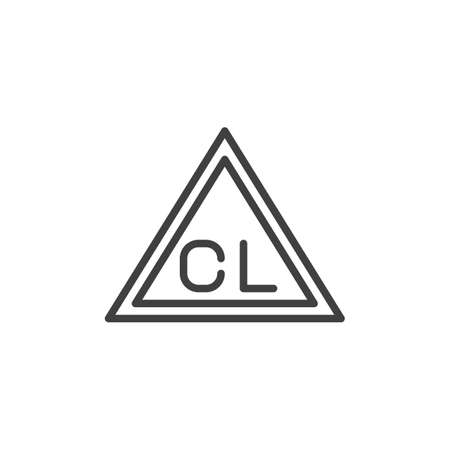 Chlorine only, wash machine sign line icon. linear style sign for mobile concept and web design. Only chlorinated bleaches outline vector icon. Laundry symbol, logo illustration. Vector graphics