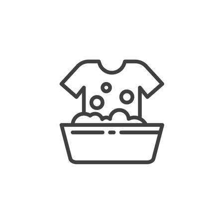 Hand wash line icon. linear style sign for mobile concept and web design. Laundry Washing Instructions outline vector icon. symbol, logo illustration. Vector graphics