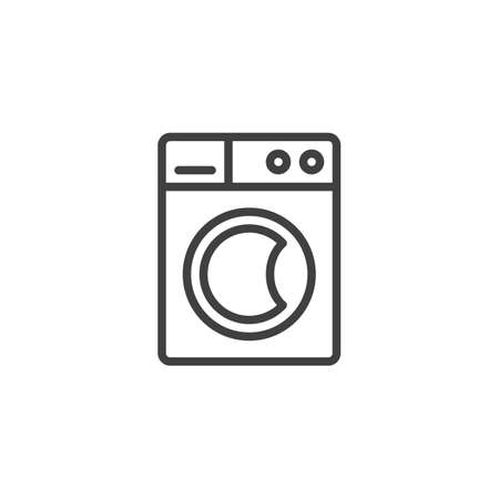 Washing machine line icon. linear style sign for mobile concept and web design. Automatic washer outline vector icon. Laundry symbol, logo illustration. Vector graphics