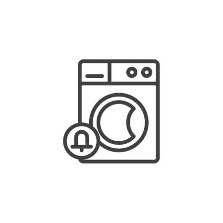 Washing machine notification line icon. linear style sign for mobile concept and web design. Washer and notification bell outline vector icon. Laundry symbol, logo illustration. Vector graphics