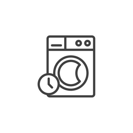 Washing time instructions line icon. linear style sign for mobile concept and web design. Washing machine and clock outline vector icon. Laundry symbol, logo illustration. Vector graphics