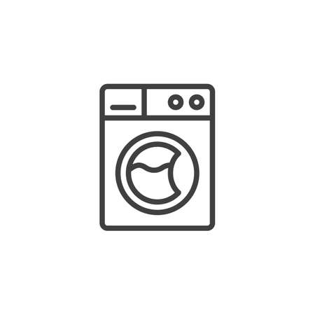 Washing machine with clothes line icon. linear style sign for mobile concept and web design. Washer machine outline vector icon. Laundry symbol, logo illustration. Vector graphics