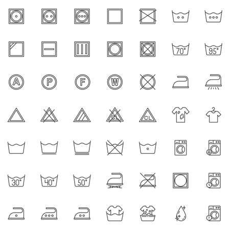 Laundry instruction line icons set. linear style symbols collection, outline signs pack. vector graphics. Set includes icons as washing machine, low heat wash time, iron, drip dry, Bleach and solvent Illustration