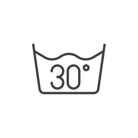 30 C or 80 F, water temperature washing line icon. linear style sign for mobile concept and web design. Wash machine instruction outline vector icon. Laundry symbol logo illustration. Vector graphics