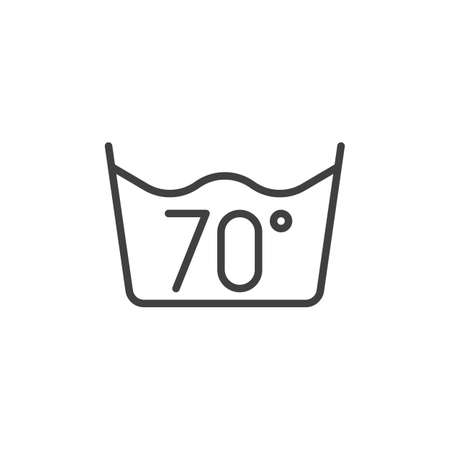 70 C or 160 F, water temperature washing line icon. filled flat sign for mobile concept and web design. Wash machine instruction glyph icon. Laundry symbol, logo illustration. Vector graphics