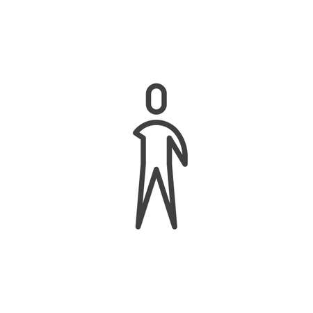 Disabled human without arm line icon. linear style sign for mobile concept and web design. Invalid man without arm outline vector icon. Symbol, logo illustration. Vector graphics