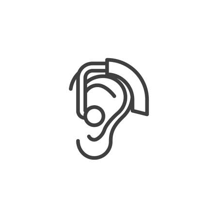 Ear Hearing Aid line icon. linear style sign for mobile concept and web design. Hearing aid behind the ear outline vector icon. Symbol, logo illustration. Vector graphics