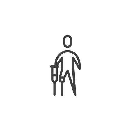 Disabled man with prosthetic leg line icon. linear style sign for mobile concept and web design. disabled person with crutch outline vector icon. Symbol, logo illustration. Vector graphics