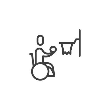 Wheelchair basketball line icon. linear style sign for mobile concept and web design. Disabled man playing basketball outline vector icon. Symbol, logo illustration. Vector graphics