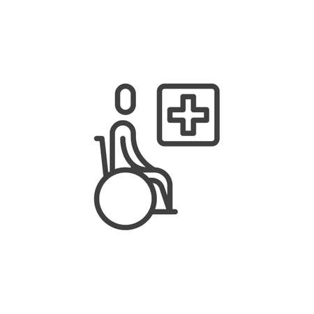 Handicap hospital line icon. Wheelchair and medical cross linear style sign for mobile concept and web design. Disabled clinic outline vector icon. Symbol, logo illustration. Vector graphics