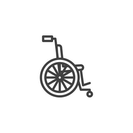 Wheelchair for disabled line icon. linear style sign for mobile concept and web design. Wheelchair outline vector icon. Symbol, logo illustration. Vector graphics