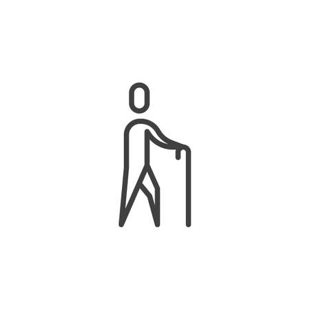 Old man walking with stick line icon. linear style sign for mobile concept and web design. Walking human with a stick outline vector icon. Symbol, logo illustration. Vector graphics
