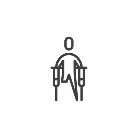 Disabled man with crutches line icon. linear style sign for mobile concept and web design. Man invalid without leg outline vector icon. Symbol, logo illustration. Vector graphics