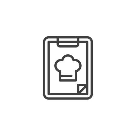 Menu, food order line icon. linear style sign for mobile concept and web design. Chef menu note pad outline vector icon. Symbol, logo illustration. Vector graphics
