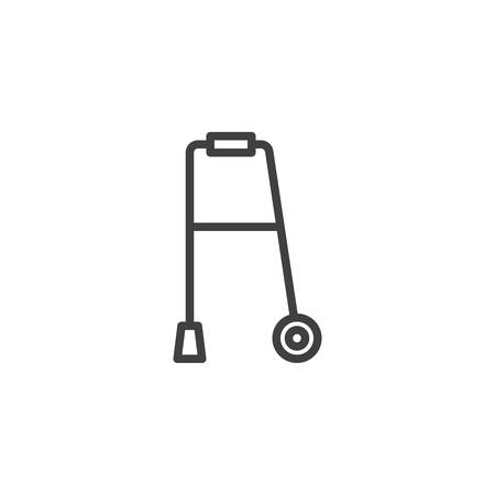 Walker for disabled line icon. linear style sign for mobile concept and web design. walker with wheels outline vector icon. Symbol, logo illustration. Vector graphics