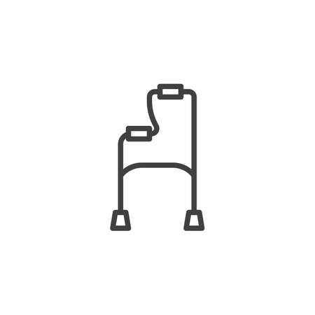 Walker for disabled line icon. linear style sign for mobile concept and web design. Orthopedic walker outline vector icon. Symbol, logo illustration. Vector graphics