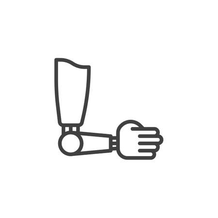 Artificial prosthesis hand line icon. linear style sign for mobile concept and web design. Prosthesis arm outline vector icon. Symbol, logo illustration. Vector graphics