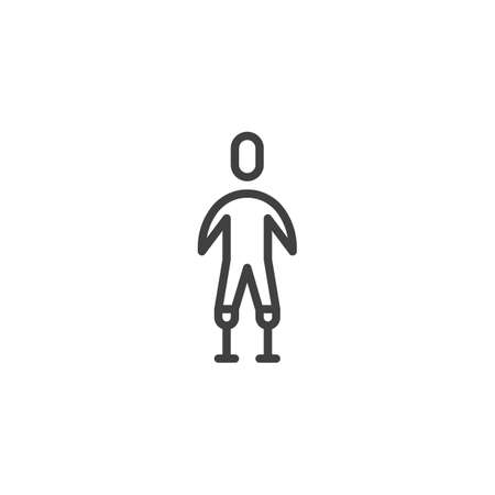 Man with Leg prosthetics line icon. linear style sign for mobile concept and web design. Disabled man without legs outline vector icon. Symbol, logo illustration. Vector graphics
