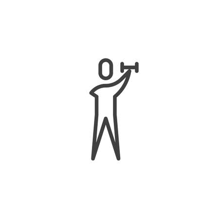 Disabled man with dumbbell line icon. linear style sign for mobile concept and web design. Man without arm making exercise outline vector icon. Accessibility symbol, logo illustration. Vector graphics