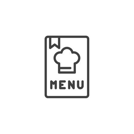 Chef menu book line icon. linear style sign for mobile concept and web design. Menu brochure outline vector icon. Restaurant symbol, logo illustration. Vector graphics