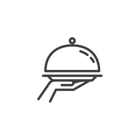 Food Tray on the Hand line icon. linear style sign for mobile concept and web design. Restaurant food outline vector icon. Food delivery symbol, logo illustration. Vector graphics Foto de archivo - 129415055