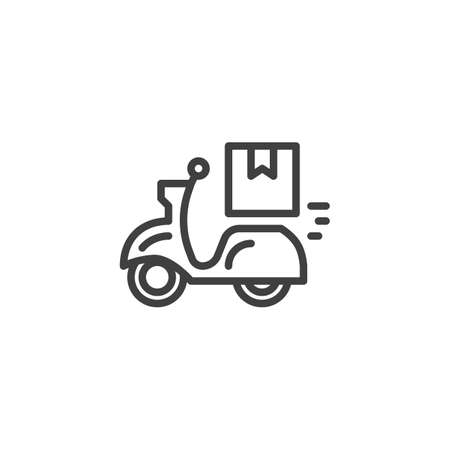 Delivery bike line icon. linear style sign for mobile concept and web design. Express food delivery service outline vector icon. Symbol, logo illustration. Vector graphics