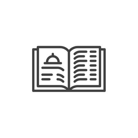 Restaurant menu book line icon. linear style sign for mobile concept and web design. Food menu brochure outline vector icon. Symbol, logo illustration. Vector graphics Stock Illustratie