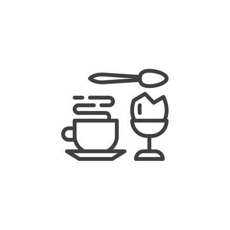 Coffee cup and ice cream cup line icon. linear style sign for mobile concept and web design. Dessert food menu outline vector icon. Symbol, logo illustration. Vector graphics Ilustração