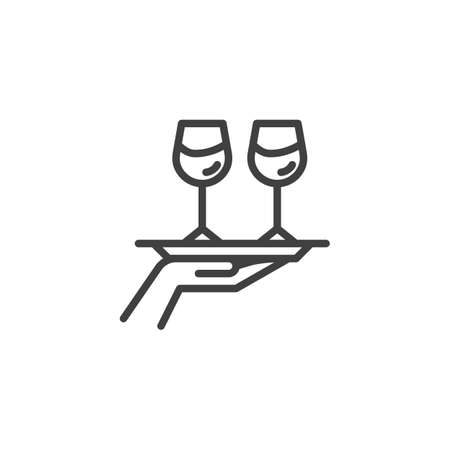 Hand hold tray with wine glasses line icon. linear style sign for mobile concept and web design. Food and drinks delivery outline vector icon. Restaurant service symbol, logo illustration