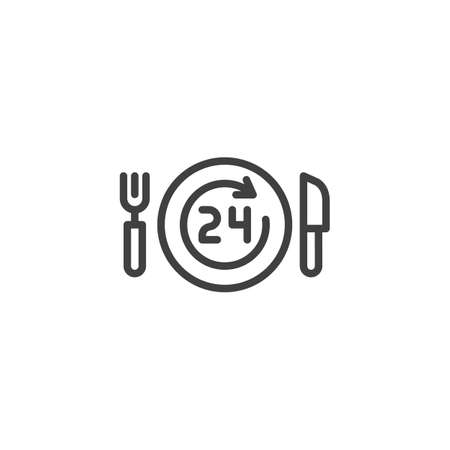 24 hours food delivery line icon. linear style sign for mobile concept and web design. Plate with fork, knife and clock outline vector icon. Symbol, logo illustration. Vector graphics