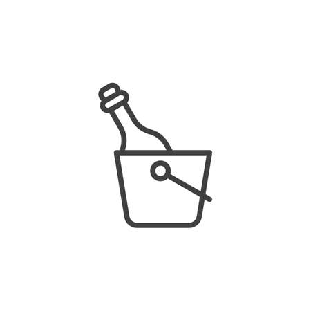 Champagne bottle in the ice bucket line icon. linear style sign for mobile concept and web design. Wine and Ice bucket outline vector icon. Symbol, logo illustration. Vector graphics