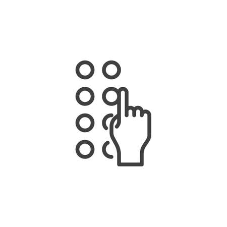 Disability blind sign line icon. linear style sign for mobile concept and web design. Braille keyboard outline vector icon. Symbol, logo illustration. Vector graphics