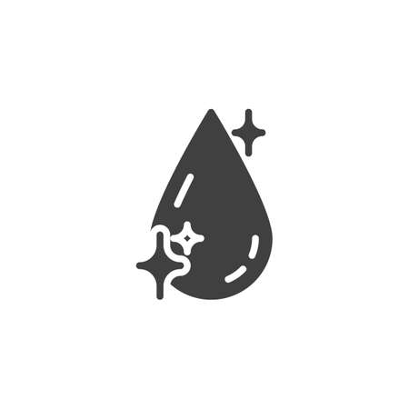Shiny water drop vector icon. Clean crystal aqua filled flat sign for mobile concept and web design. Clean water drop glyph icon. Liquid symbol, logo illustration. Vector graphics