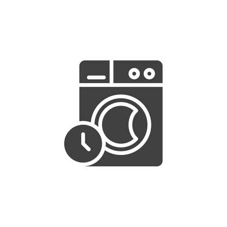 Washing time instructions vector icon. filled flat sign for mobile concept and web design. Washing machine and clock glyph icon. Laundry symbol, logo illustration. Vector graphics Stock Illustratie