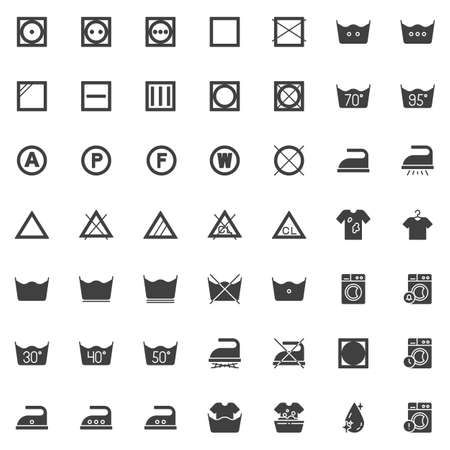 Laundry instruction vector icons set, modern solid symbol collection, filled style pictogram pack. Signs, logo illustration. Set includes icons as washing machine, low heat wash time, iron, drip dry Stock Illustratie