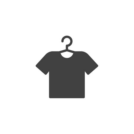 T-shirt on hanger vector icon. filled flat sign for mobile concept and web design. Clothe laundry glyph icon. Laundry symbol, logo illustration. Vector graphics Stockfoto - 129415211