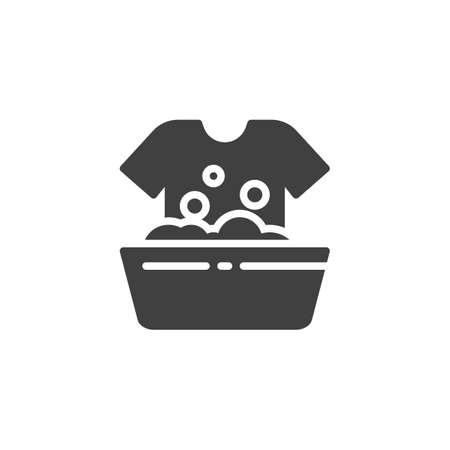Handwas vector pictogram. gevuld plat bord voor mobiel concept en webdesign. Wassen wassen instructies glyph pictogram. symbool, logo afbeelding. vectorafbeeldingen Logo