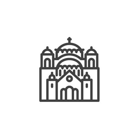 Belgorod famous landmark line icon. linear style sign for mobile concept and web design. Russia city buildings outline vector icon. Travel symbol, logo illustration. Vector graphics  イラスト・ベクター素材