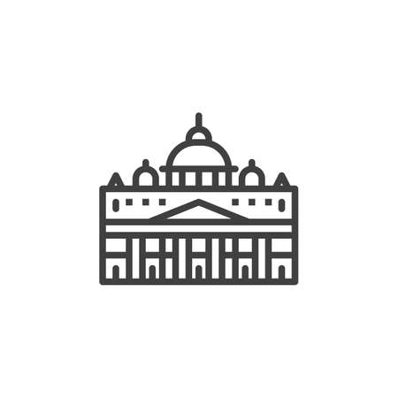 Vatican famous landmarks line icon. linear style sign for mobile concept and web design. Vatican city buildings travel outline vector icon. Symbol, logo illustration. Vector graphics