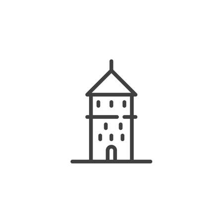 Tallinn famous landmark line icon. linear style sign for mobile concept and web design. Estonia city buildings outline vector icon. Travel symbol, logo illustration. Vector graphics