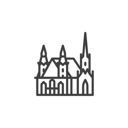 Vienna famous landmark line icon. linear style sign for mobile concept and web design. Austria city buildings outline vector icon. Europe travel symbol, logo illustration. Vector graphics  イラスト・ベクター素材