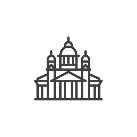 Helsinki famous landmark line icon. linear style sign for mobile concept and web design. Finland city buildings outline vector icon. Travel symbol, logo illustration. Vector graphics