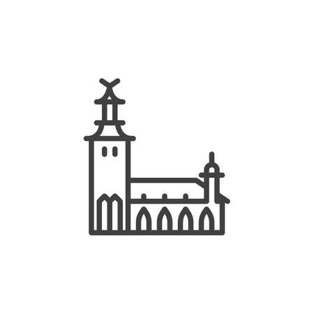 Stockholm famous landmark line icon. linear style sign for mobile concept and web design. Sweden City Buildings outline vector icon. Europe travel symbol, logo illustration. Vector graphics