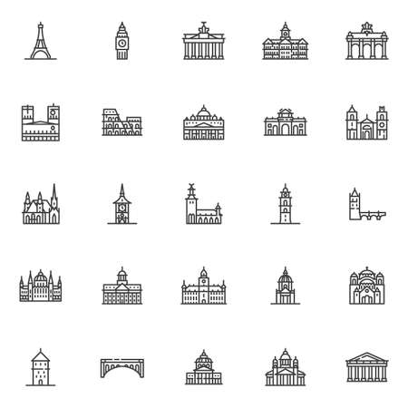European cities landmarks line icons set. linear style symbols collection, outline signs pack. vector graphics. Set includes icons as Eiffel tower, Big Ben Clock-tower, Brandenburg gate, Europe travel