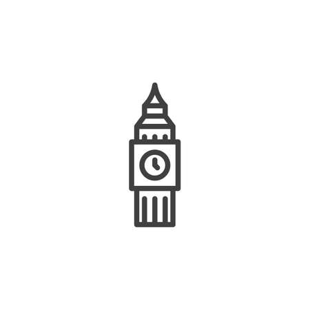 London city landmark line icon. linear style sign for mobile concept and web design. Big Ben Clock-tower outline vector icon. England travel symbol, logo illustration. Vector graphics  イラスト・ベクター素材