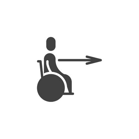 Disability wheelchair exit direction vector icon. filled flat sign for mobile concept and web design. Wheelchair slope way sign glyph icon. Symbol, logo illustration. Vector graphics