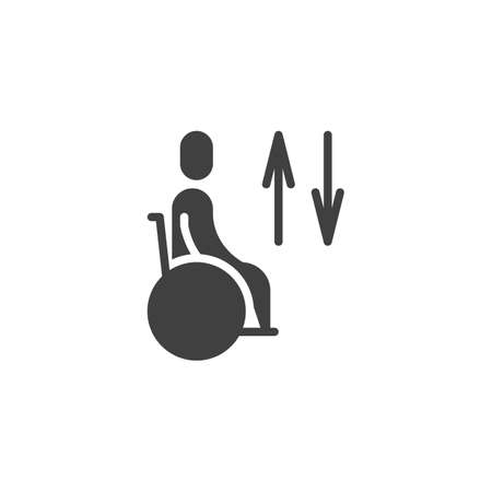Handicap Elevator Sign vector icon. filled flat sign for mobile concept and web design. Disabled, up and down arrow glyph icon. Symbol, logo illustration. Vector graphics Ilustração