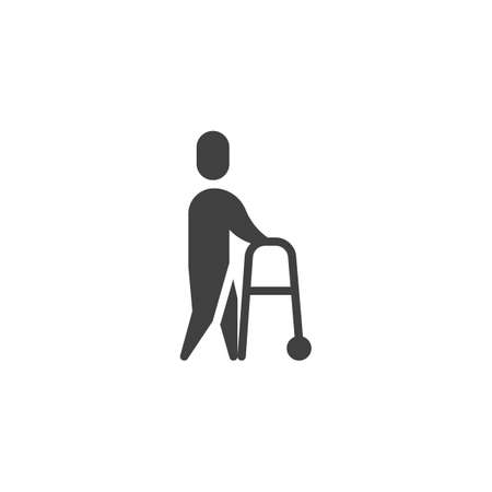 Man with walker vector icon. filled flat sign for mobile concept and web design. Disabled man glyph icon. Symbol, logo illustration. Vector graphics Ilustração