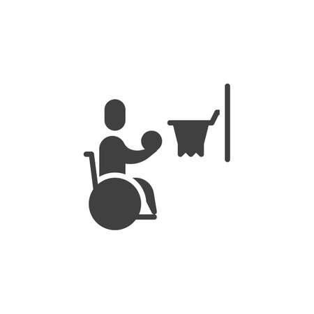 Wheelchair basketball vector icon. filled flat sign for mobile concept and web design. Disabled man playing basketball glyph icon. Symbol, logo illustration. Vector graphics